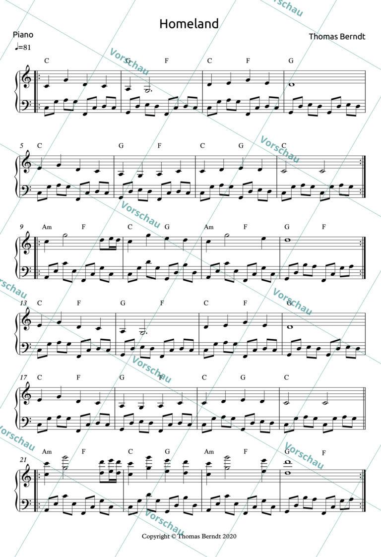 Homeland | Piano Score