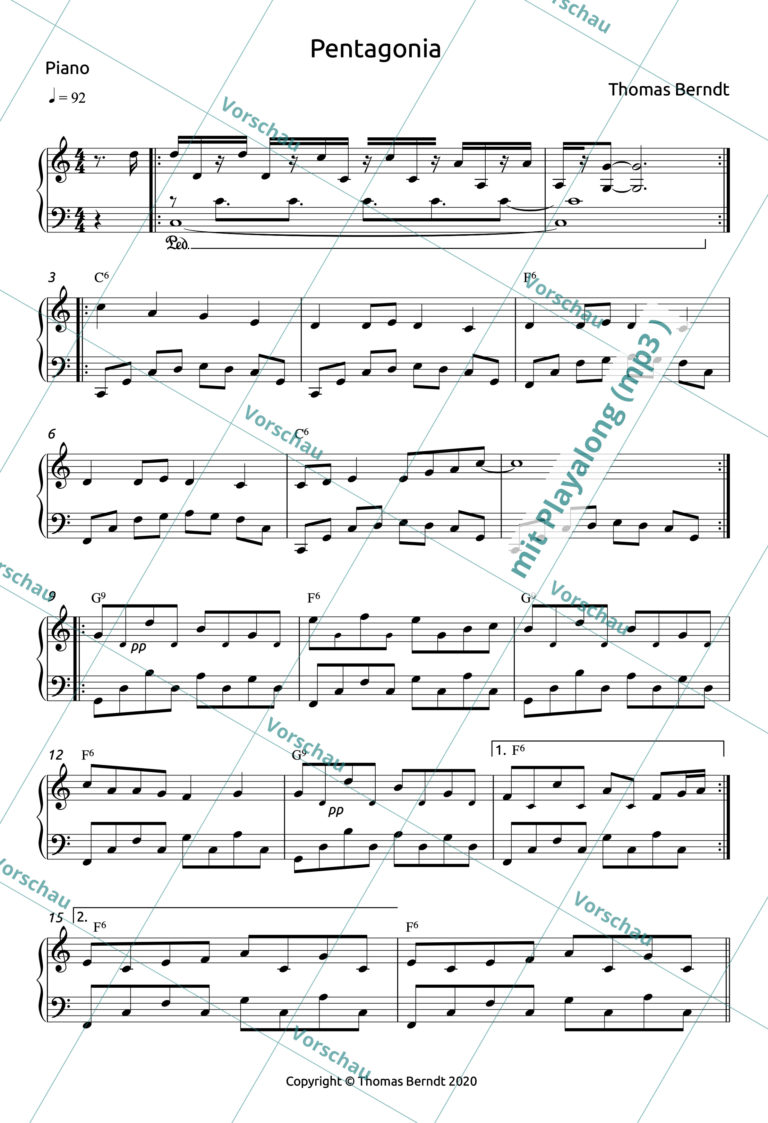 Pentagonia | Piano Score + Playalong